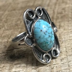 Vtg Taxco 925 Sterling Silver Turquoise Ring